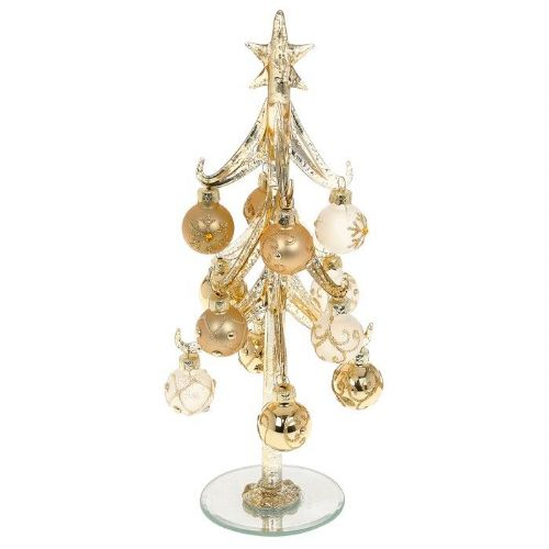 Large Classic Gold Glass Christmas Tree with Gold Jewelled Baubles
